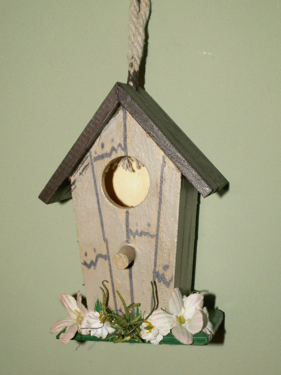 hand painted mini birdhouse country home decor ooak by