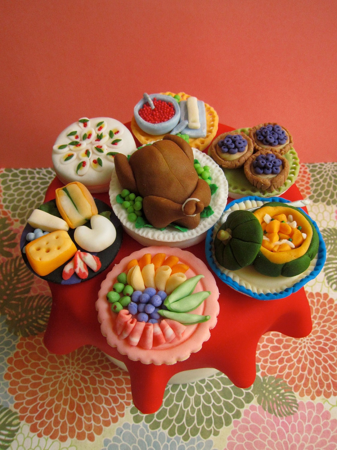 Thanksgiving and Christmas Dinner Cupcake Toppers (Edible Fondant/12 items)
