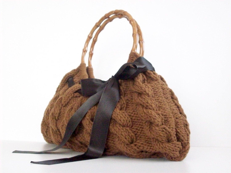 کیف شانه ، کیف دستی کیف روزمره مس Knitted براون Nr.0111