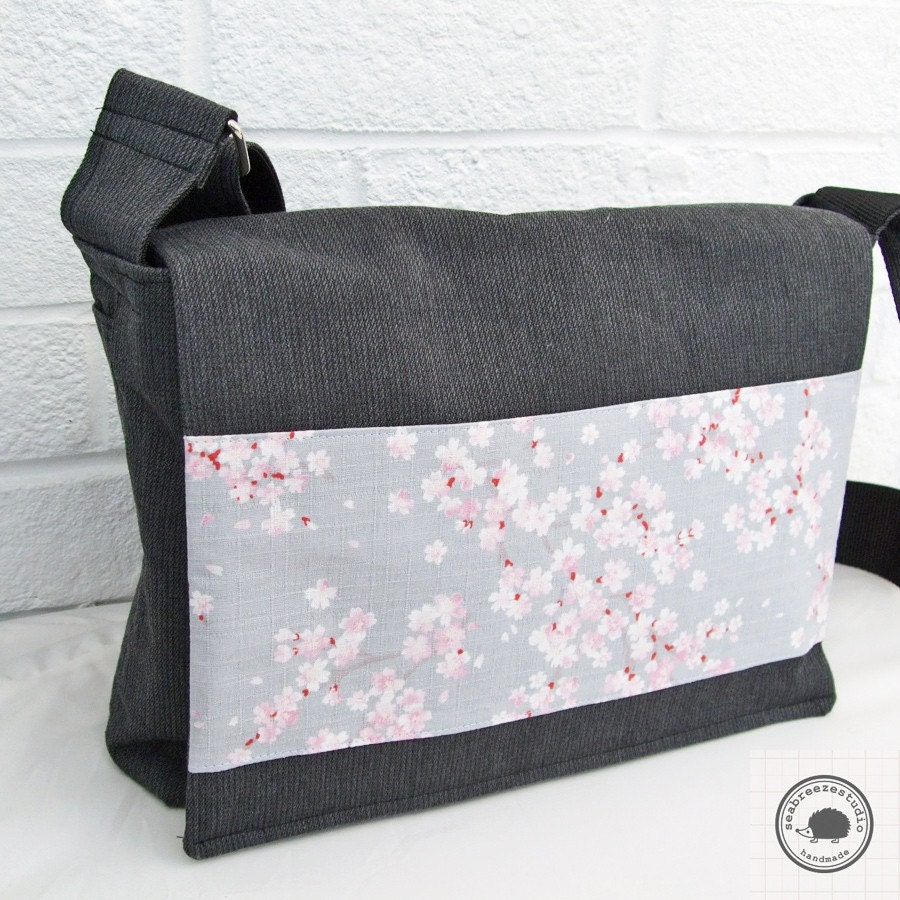 Messenger bag - Sakura blue grey
