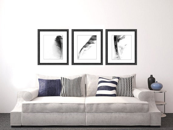 Feather Photo Set, black and white photo, abstract photography, black and white art print photo set home decor wall decor
