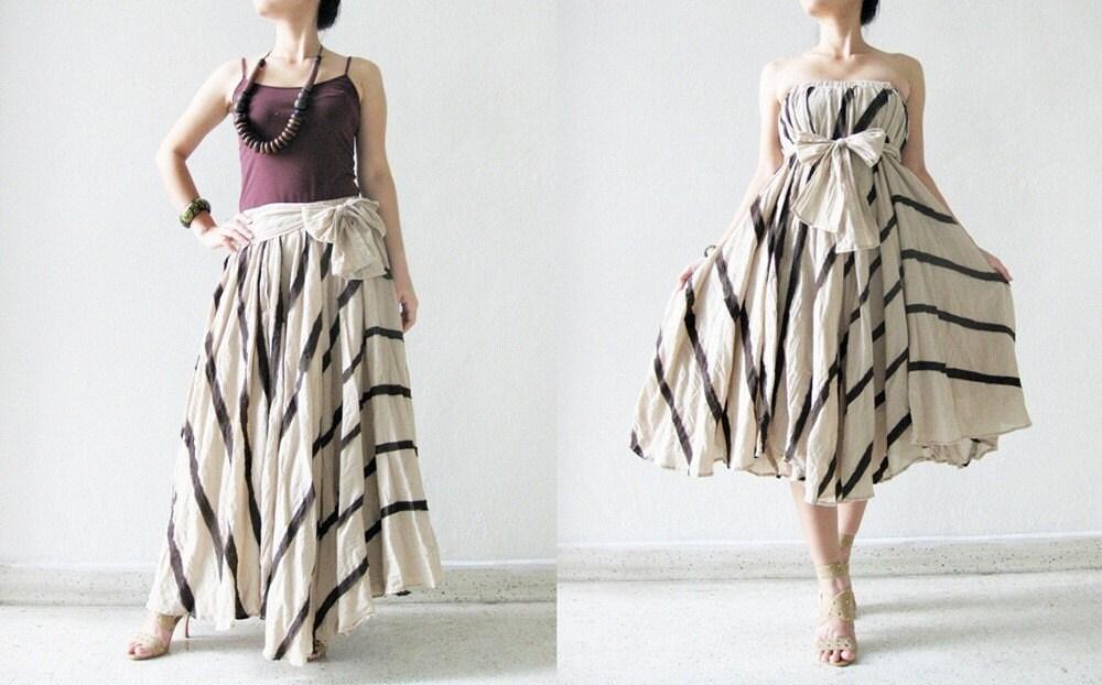 خط مخلوط را در دامن پنبه قهوه ای / لباس