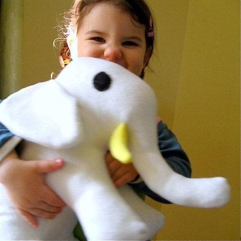 organic toy elephant stuffed plush animal in spring lemon and alabaster / Alex