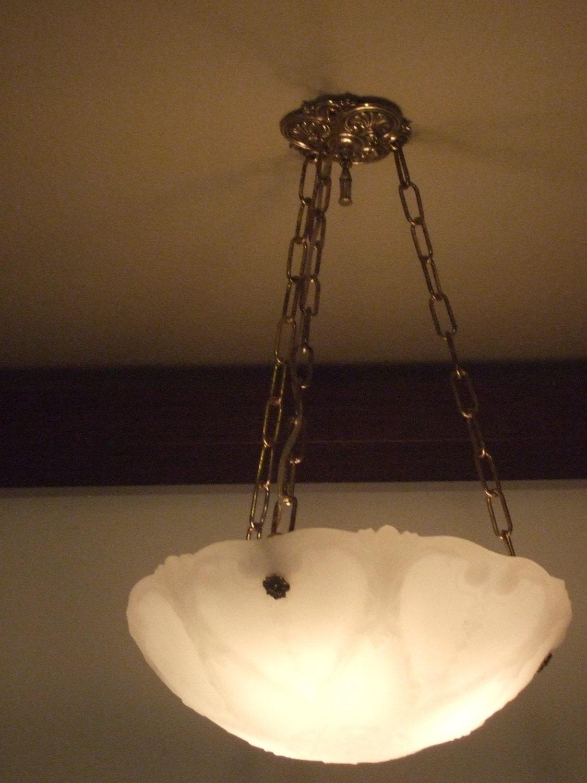 Antique milk glass chandelier by BakerStreetLighting on Etsy
