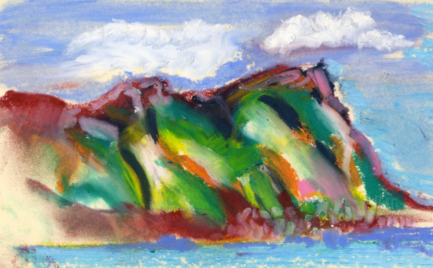 Wild Clouds flying over False Bay Mountain to the sea - vibrant Oil Pastel drawing. Limited Edition print one of only 25 - artsdesireable