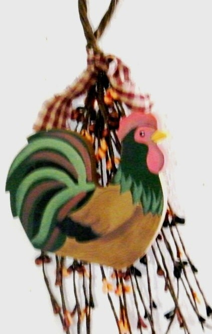 Rustic Rooster Wall Decor : Items similar to primitive berry swag wood rooster