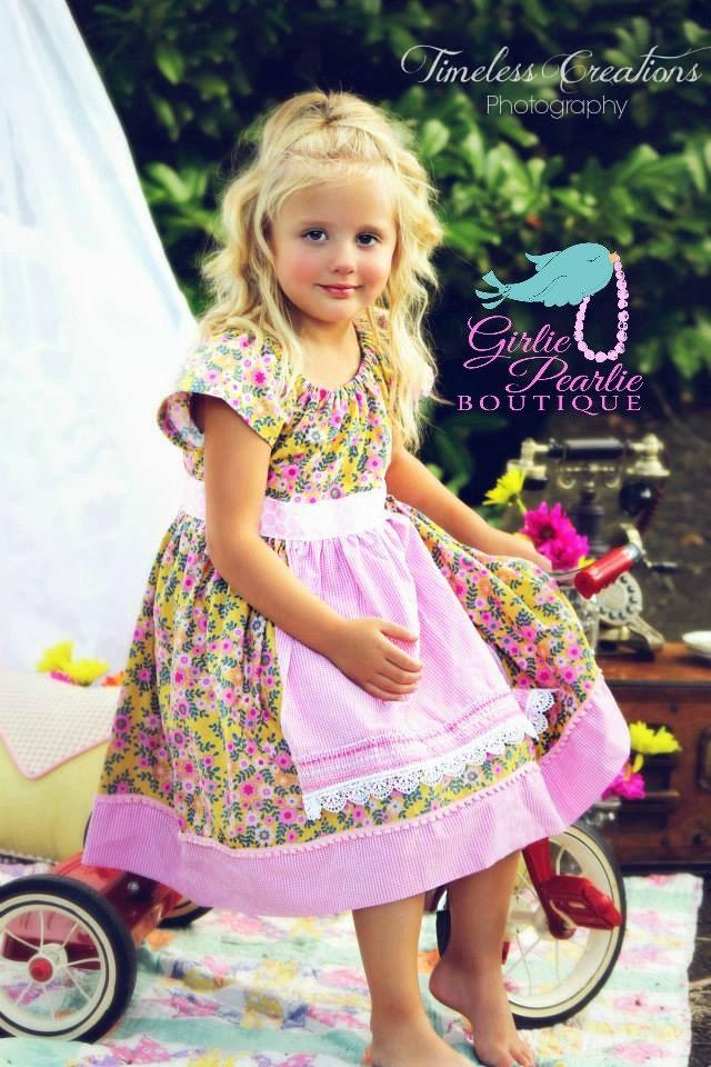 Cottage Garden Apron Peasant Dress Pearls Summer Cottage - GirliePearlie3
