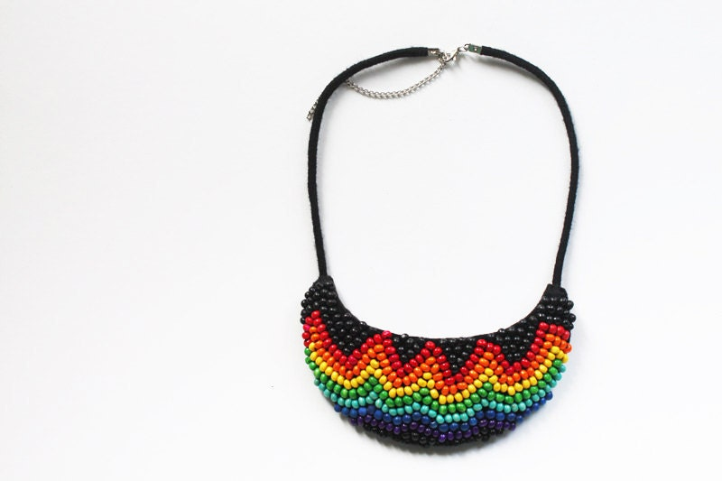 Rainbow Jewelry, Ethnic Rainbow statement necklace, Ethnic necklace with rainbow colors, Tribal - elifus