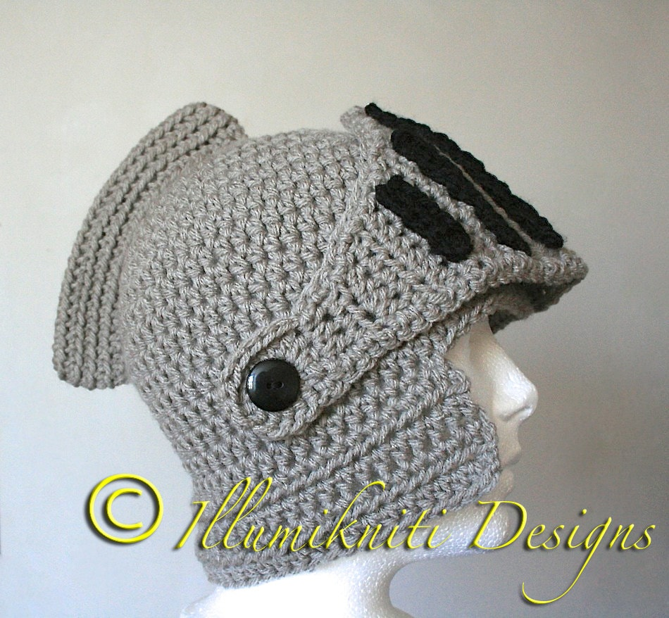 Sir Knight's Helmet Crochet Hat - Made to Order - Approx. 4 weeks to ship