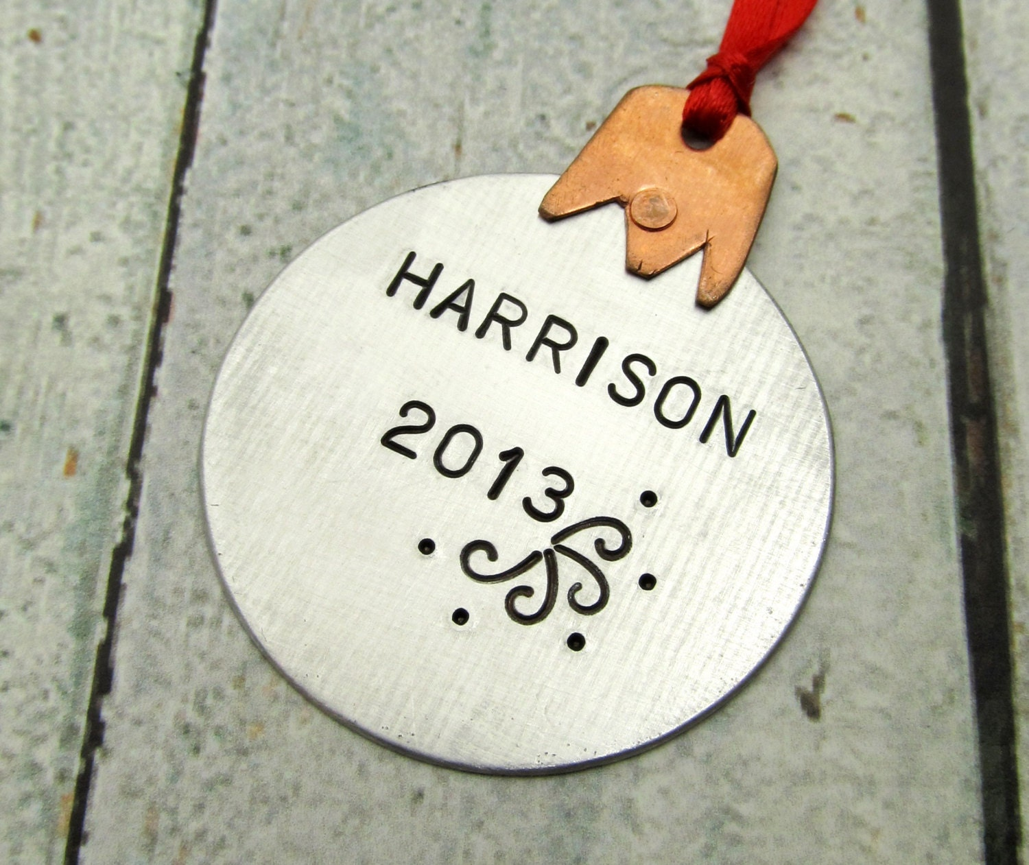 Personalized ornament mixed metal by firedupladieshammer