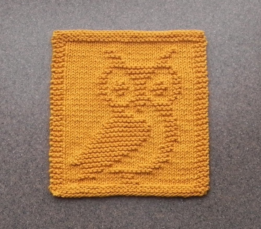 Knit Pattern For Owl Dishcloth : Knit Dishcloth OWL Hand Knitted Unique Design by ...