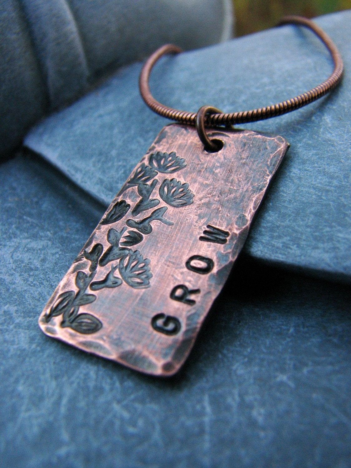 Grow Custom Necklace, in Copper - Great gift for Mom, Sister, Friend, Gardener