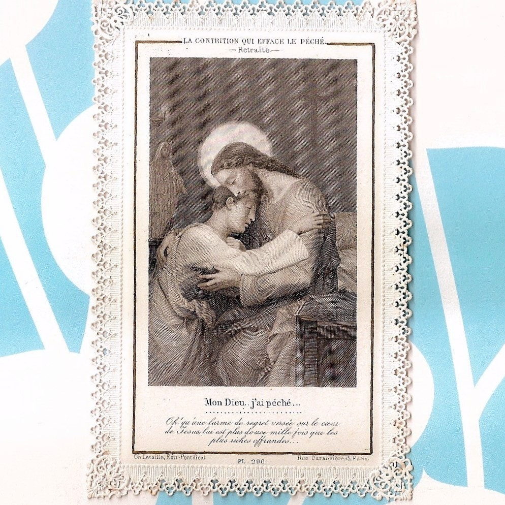 Antique Lace French Holy Card - Jesus Forgives Sins - by Letaille