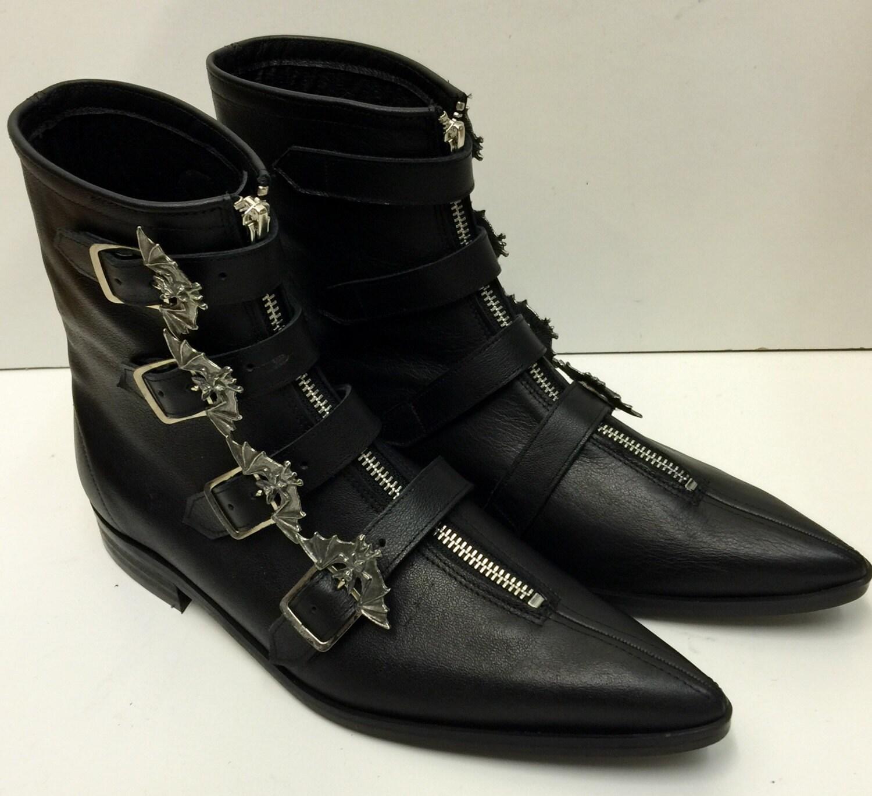 4 Bat Winklepicker Boots in Black Leather