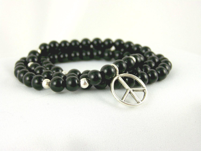 Stretch Bracelet, Black Onyx Necklace with Sterling Silver Peace Charm, Meditation Bracelet, Stretchy Bracelet