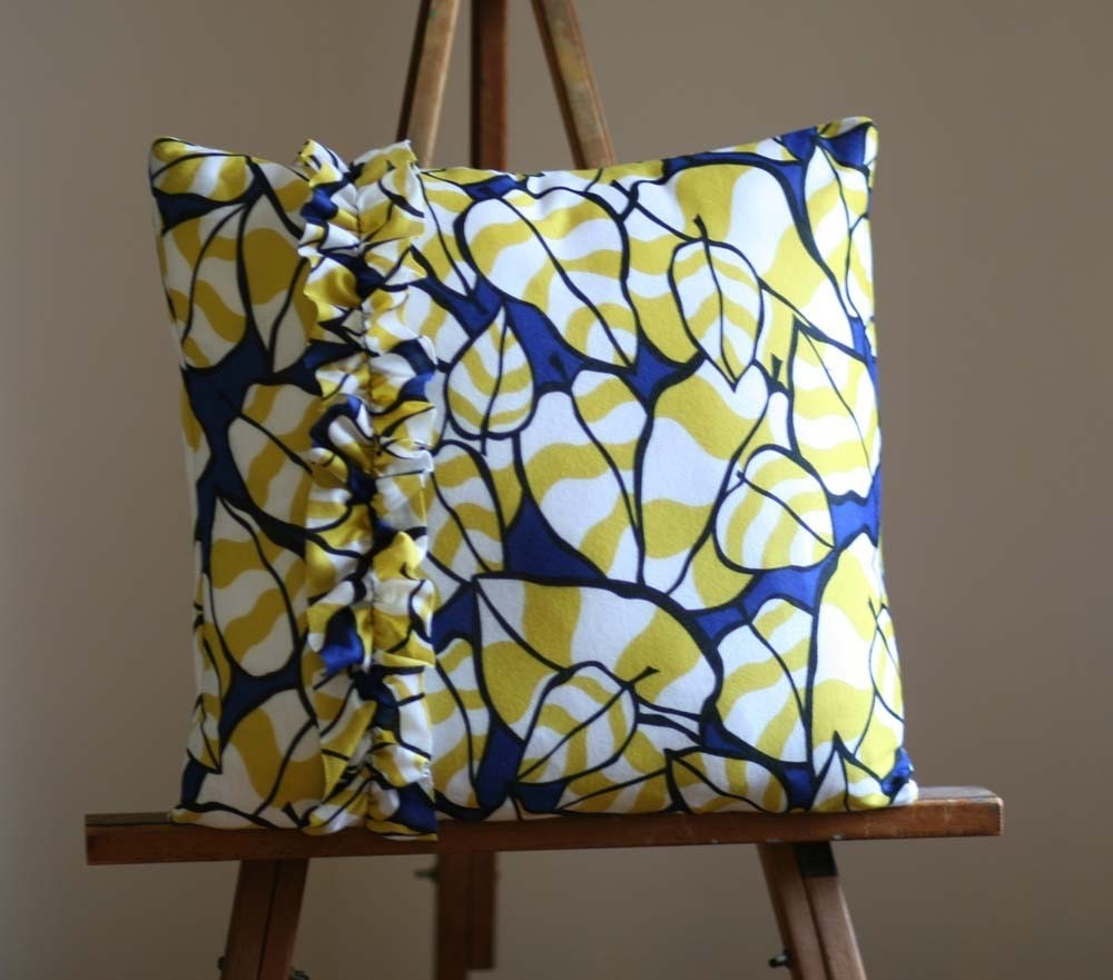 Bright Blue and Yellow Mod Pattern Ruffle Pillow