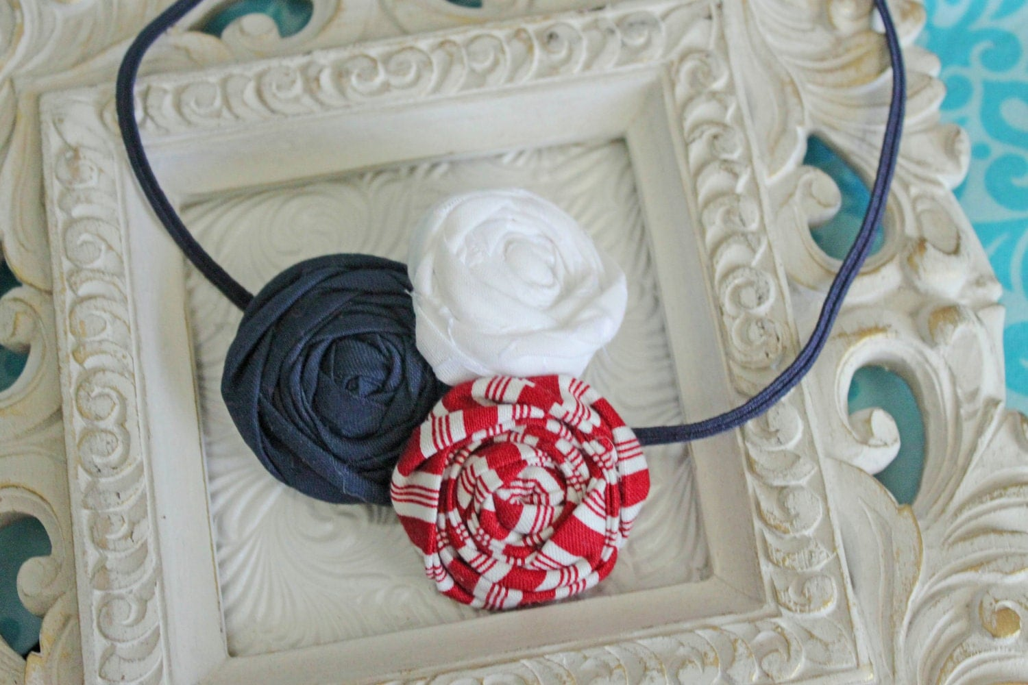 Sweet and Sassy Rolled Rosettes Headband--Red White and Blue--on Navy Skinny Elastic Headband--Newborn thru Adult Sizes Available--Perfect Photography Prop
