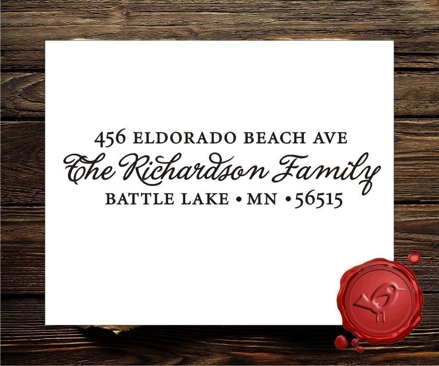 Custom calligraphy personalized  address wood handle rubber stamp - style 9004
