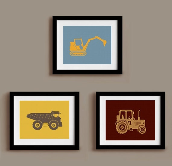 Construction Truck Print Set 8 x 10 Trucks for kids