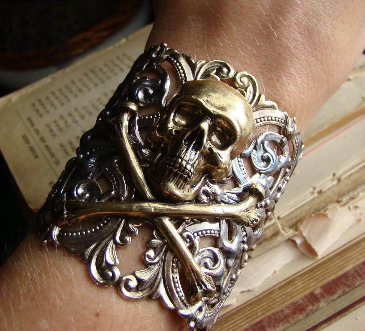 Bones - Victorian Brass Skull and Cross Bones Wide Metal Cuff Bracelet