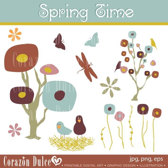 spring flower clip art images. Clipart SPRING TIME Digital
