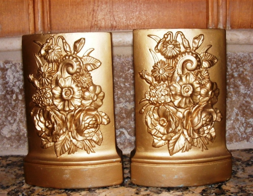 Antique Art Deco Nouveau Early 1900's Chalkware Pair of Bookends Raised Flowers Gold Gilt