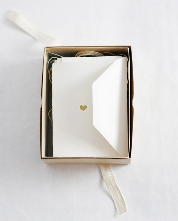 Hand-printed Heart of Gold Stationery Set - BesottedBrand