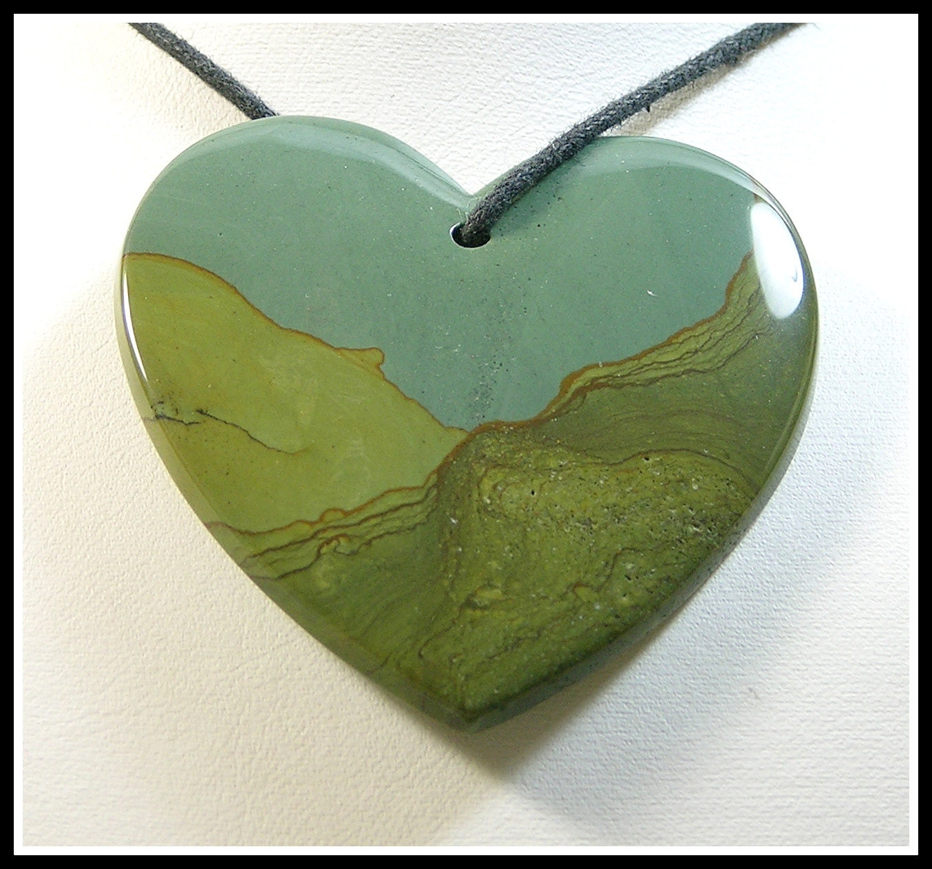 Large Heart Focal Bead Made From Big Horn Jasper