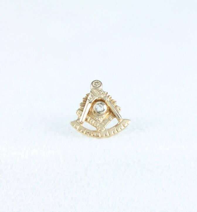10 000 Up Diamond: Vintage 10K Gold & Diamond Past Master Masonic By