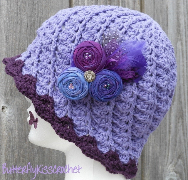 Crochet Hair Spirals : Grape Plum Spiral Crochet Cloche & Hand Dyed Rolled Fabric Flower Hair ...