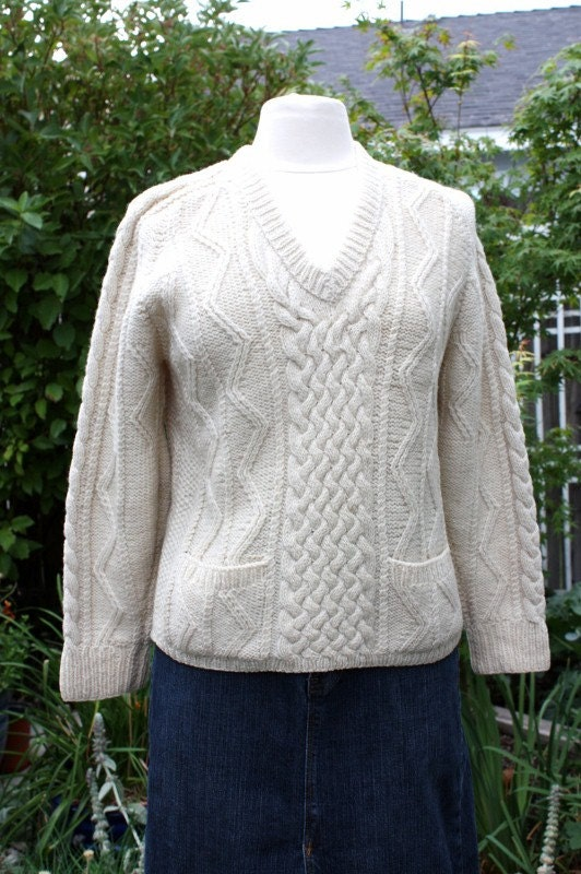Irish Sweater Cream Cable Stitch Fisherman Wool Made In Ireland Cream ...