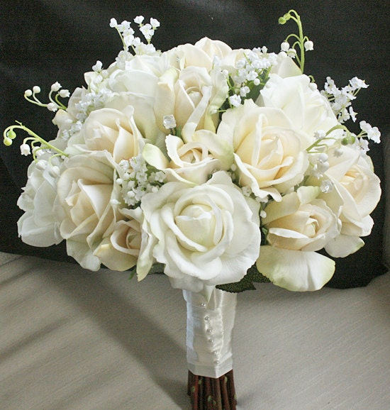 Silk Wedding Bouquet With Champagne And Ivory Roses By