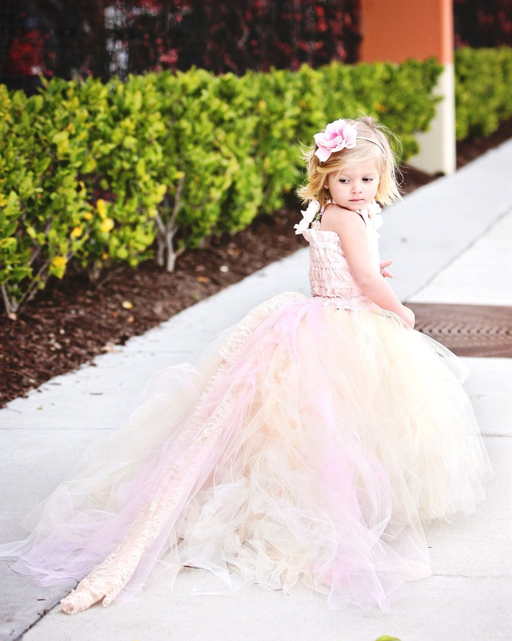 Reserved for Jerica Zullo--Lace Flower Girl Dress w Tutu and Detachable Train--Pink Champagne--Perfect for Weddings, Pageants and Portraits