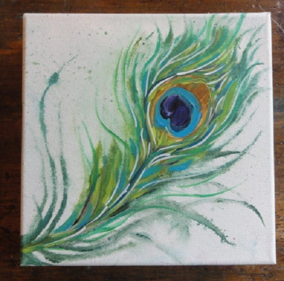 Peacock feather painting abstract for Painting feathers on canvas
