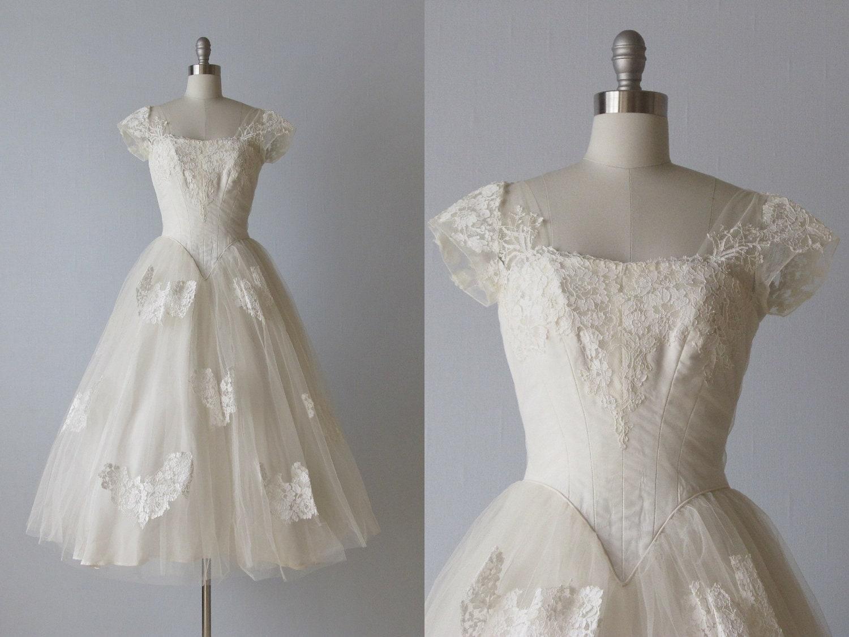 RESERVED Tea Length Wedding Dress / 1950s by TheVintageMistress