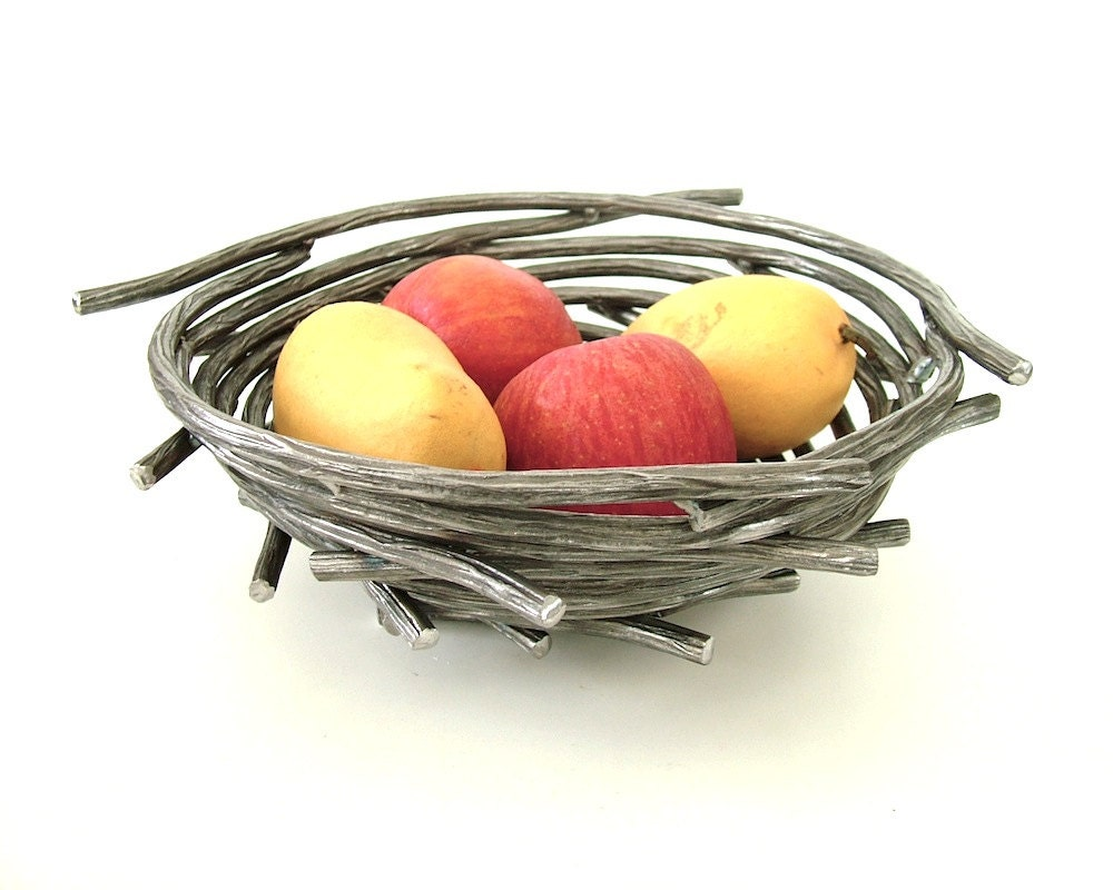 Bird Nest Bowl/Steel Twig Bowl/Functional Fine Art Centerpiece Bowl - CitiZenoBjeCts