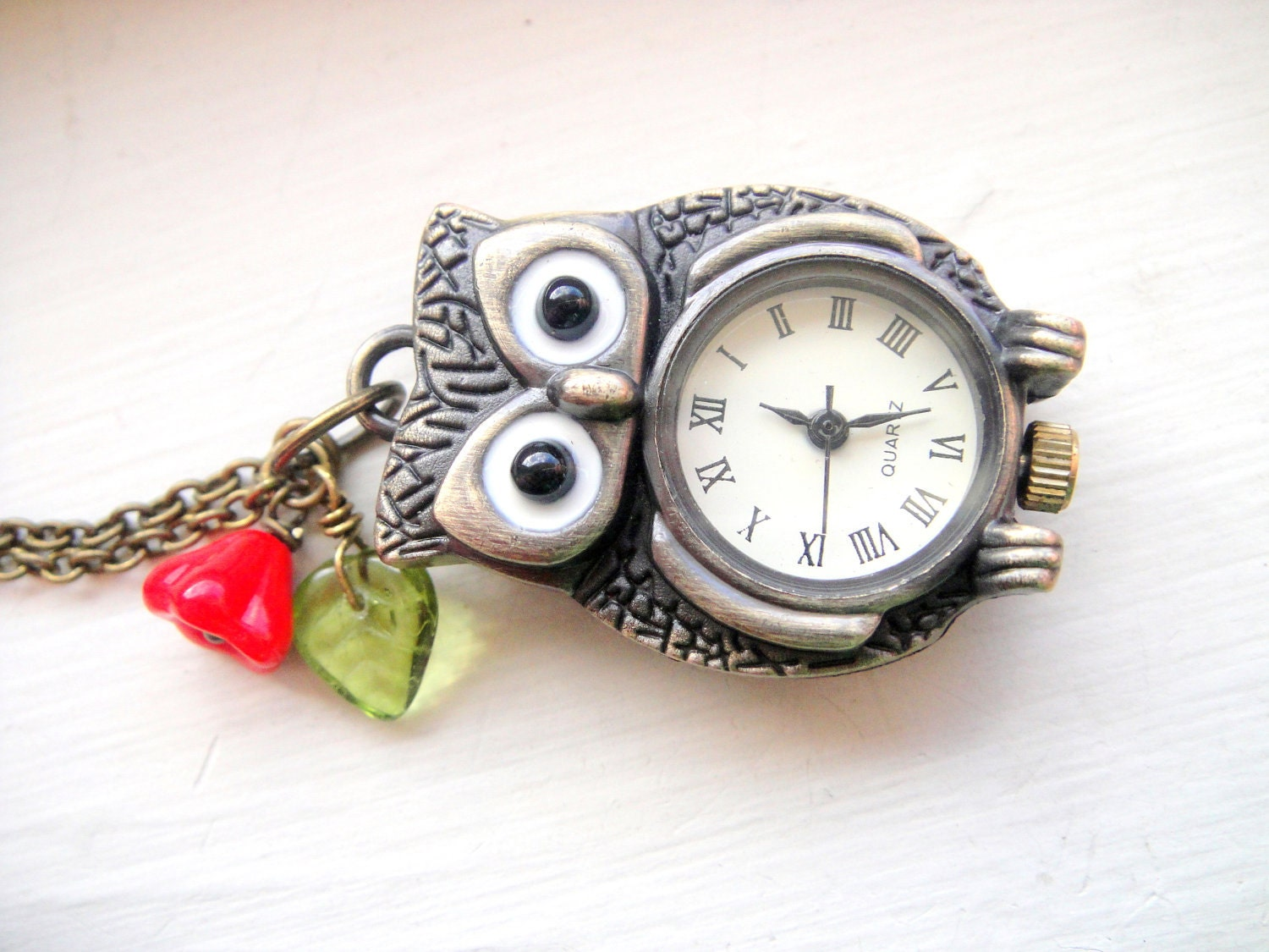 Owl Pocket Watch Necklace - Owl Watch in Antique Brass with Red Czech Glass Flower - Harry Potter, Hedwig, Owl Necklace, Pocketwatch