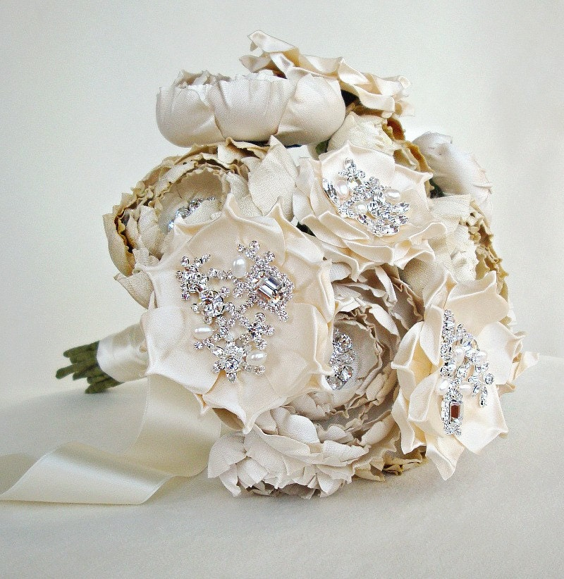 Ivory and Cream Silk Catala and Jeweled Bloom Bridal Bouquet