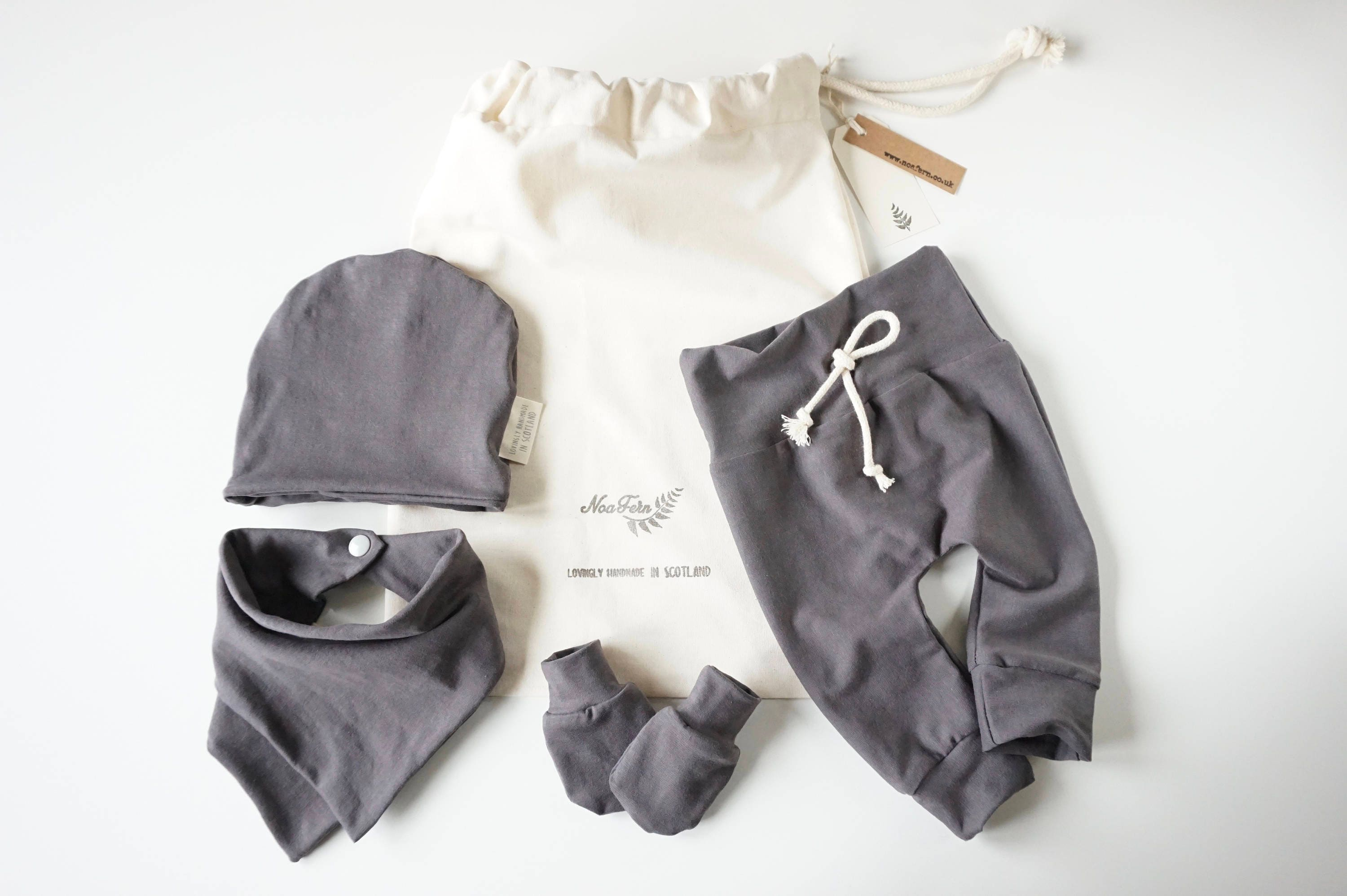 Baby Clothes Baby Gift Set  Comfy Stretchy Baby Clothes no elastic baby hat baby mitts baby bib baby leggings gym bag grey baby set