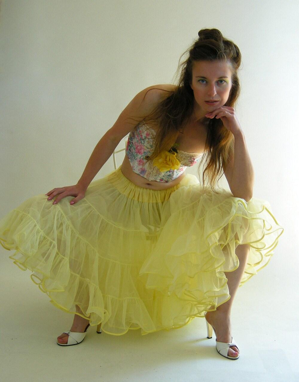 Crinoline Petticoat Yellow Vintage 50s 60s Chiffon by empressjade from etsy.com
