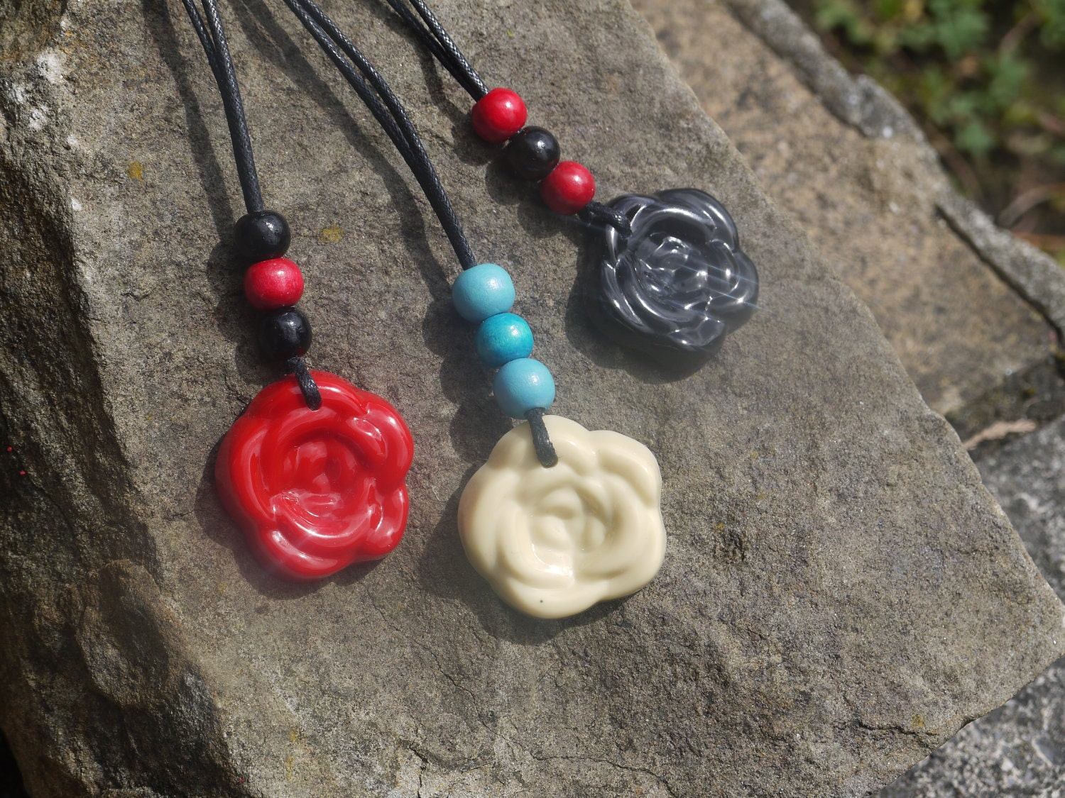 Handmade Resin Rose Pendants