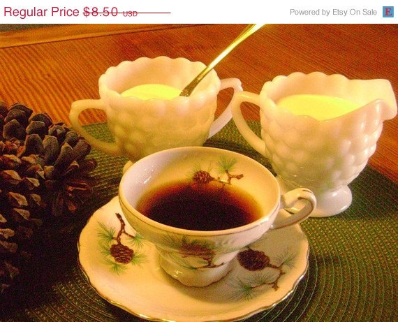 ON SALE Milk Glass Bubble Sugar and Creamer Set