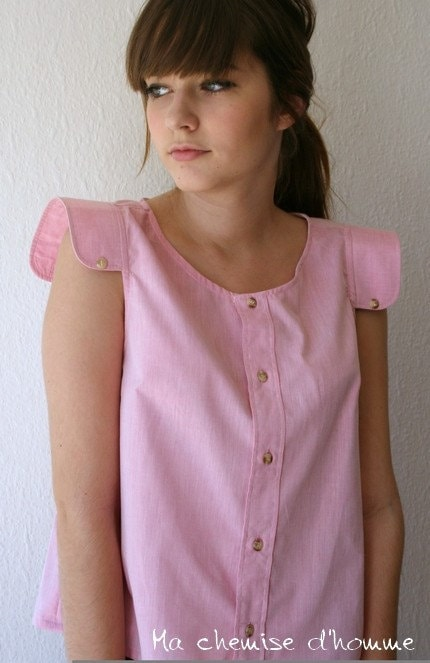 Upcycled man's shirt pink tunic - SMALL