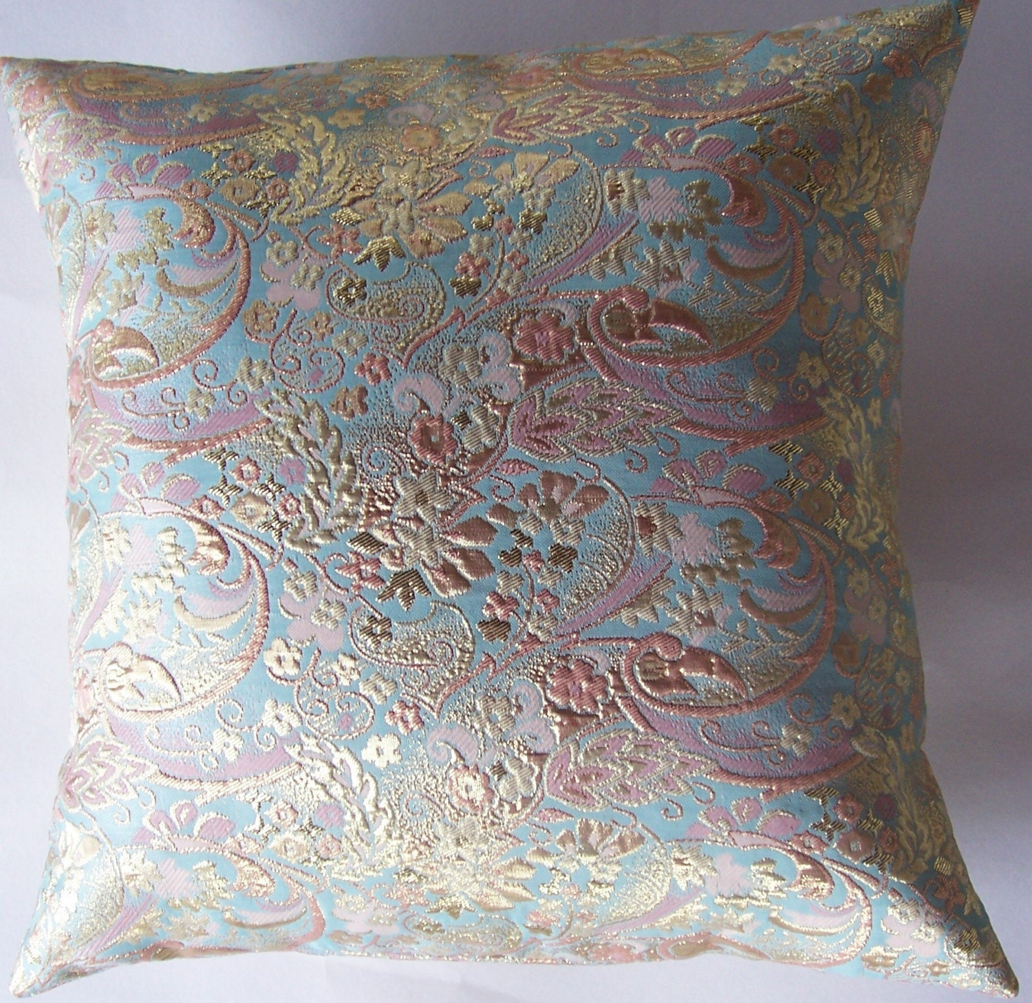 Pale Aqua Coral and Gold Brocade Pillow Cover