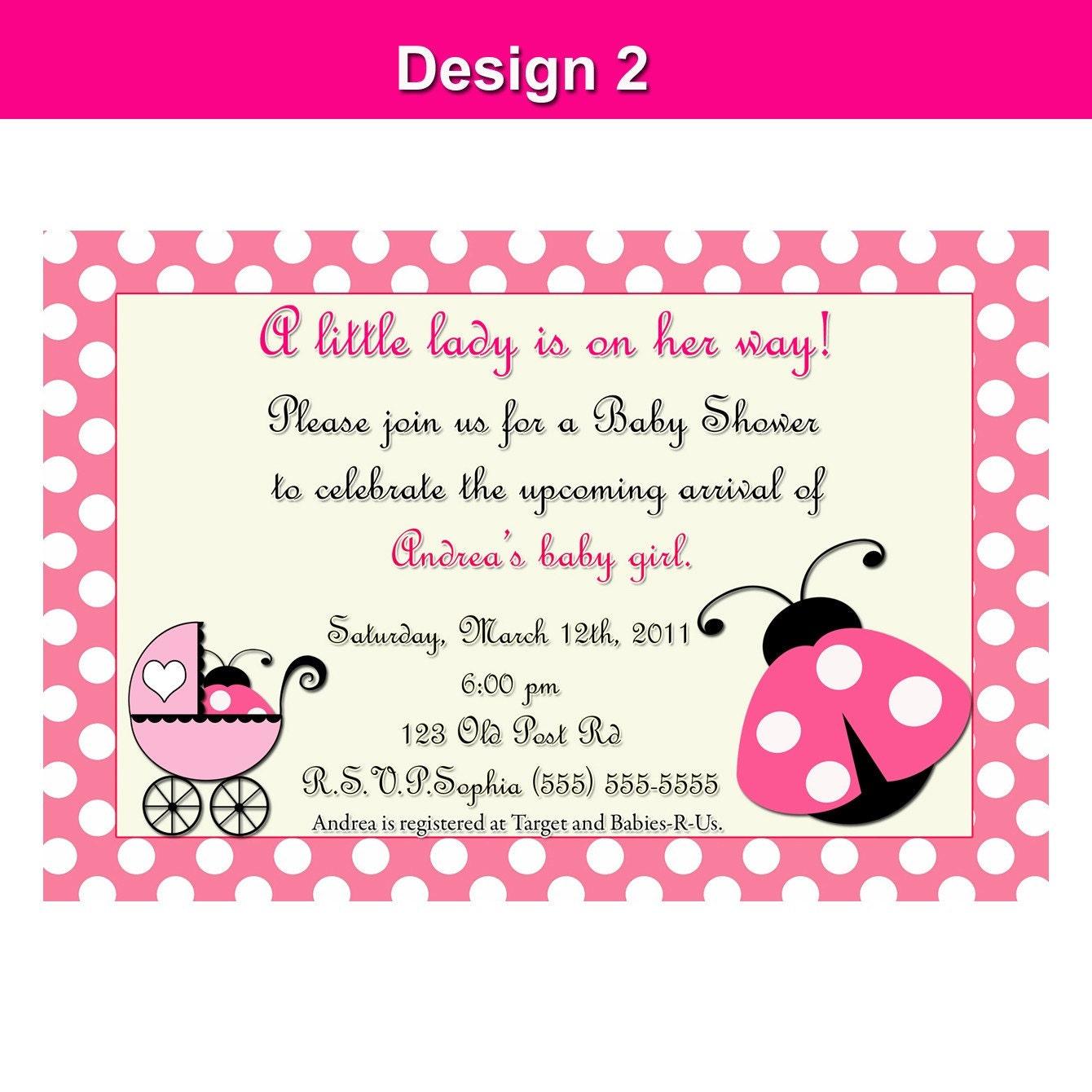 pink ladybug invitation printable birthday baby shower