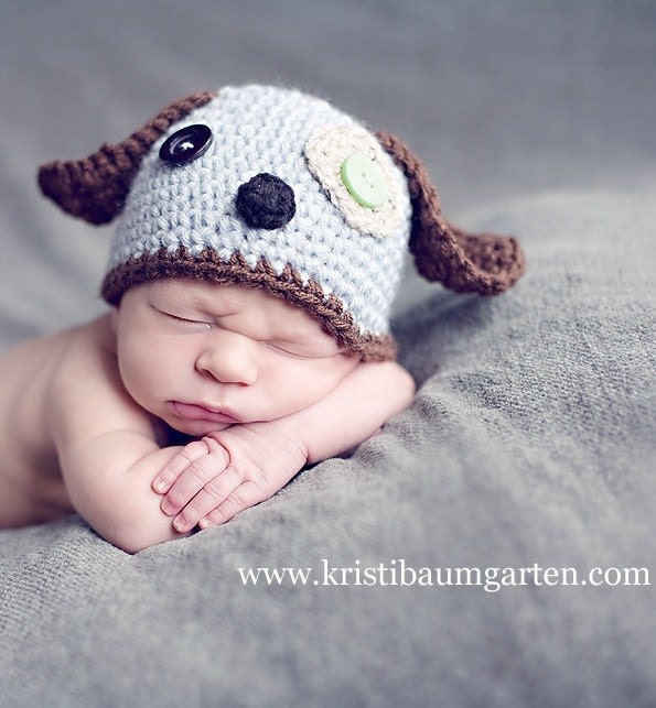 Crochet Pattern For Baby Dungarees : Baby SCRAPPY PUPPY DOG Crochet Hat Newborn 0 3 6 Months