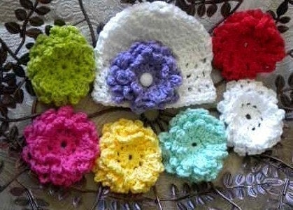 GARDEN PARTY BABY BEANIE - HEADBAND AND 7 Interchangable Flowers- white, yellow, aqua, pink, purple, red and lime.  GREAT FOR PHOTOS