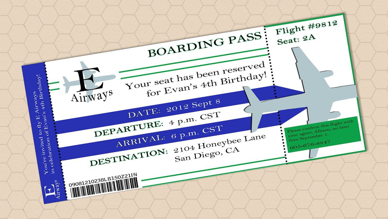 plane ticket invitation template .