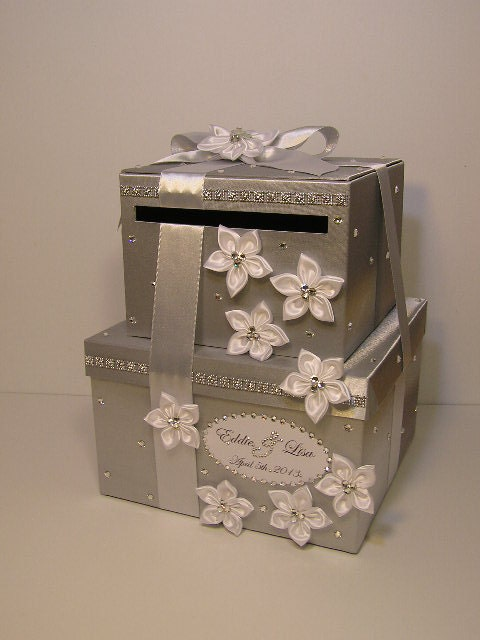 Silver Wedding Gift Card Holder : Silver and White Wedding Card Box Gift Card Box Money Card Box Holder ...
