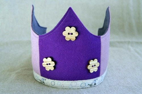 Wool Felt Crown - Flowers and bubbles